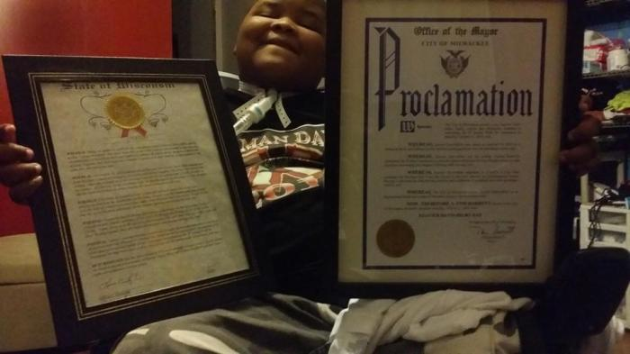 Xzavier Davis-Bilbo was honored with the proclamation of 'Xzavier Day' by Mayor Tom Barrett of Milwaukee, Wisconsin.
